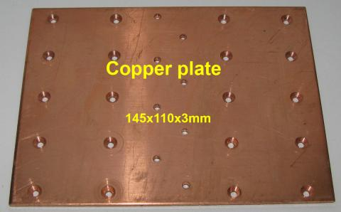 Copper plate. Size 145x110x3mm. For 4x MRF150 (BLF177) image 1