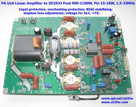PA Unit 900-1000W PEP Linear Amplifier DN-600 4x SD2933 image 1