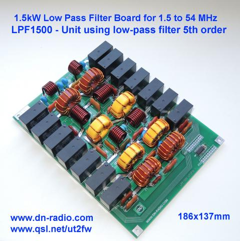 1.5kW PEP, 1.5-54MHz, LPF low-pass filter 5th order (for LDMOS, BLF188, MOSFET) image 1